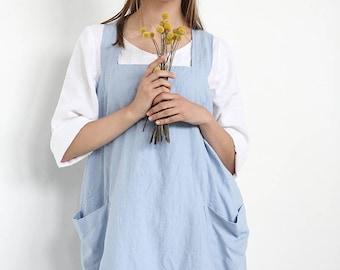 Linen Pinafore, Apron Dress, Large Linen Apron, Linen apron, Square Cross Linen Apron, Japanese Apron,  Sizes XXS to XXL
