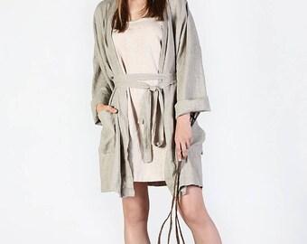 Linen robe - Women's Linen morning robe -  Linen bathrobe - Linen loungewear - Linen bath robe - Linen bath gown - Unisex robes - Sauna robe