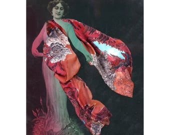 Silk's scarf, rectangular, with spectacular mountains's landscape where men are sleeping, hand-drawn, Red, made in France