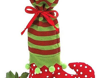 Elf stocking wine bottle holder