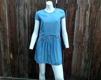 Vintage 1920's Dress Edwardian Silk Linen Flapper Drop Waist Blue Pink Snap XS S