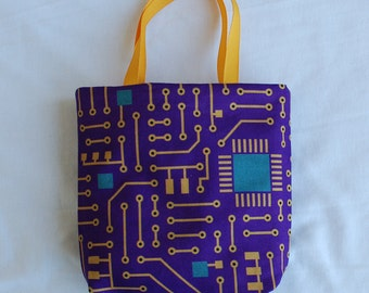 Science Fabric Gift Bag/ Party Favor Bag- Circuit Board on Purple