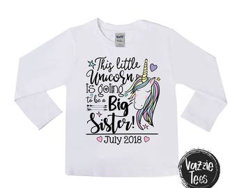 This Little Unicorn is Going to be a Big Sister Shirts - Unicorn Big Sister Tee - Future Big Sister - Personalized - Announcement Shirts