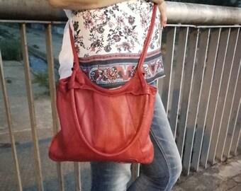 Leather Bag Vintage Vintage Leather Bag, Travel Handbag, Woman's Purse, RED Leather Bag, Genuine Leather Bag, Small Bag.