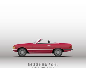 Mercedes-Benz 450sl_Couleur Rouge_Affiche decorative_30x40cm