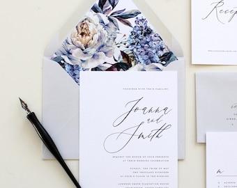 Purple Calligraphy Wedding Invitation | Modern Calligraphy Wedding Invite, Lilac Modern Wedding Invitation, Lavendar Calligraphy Invitation