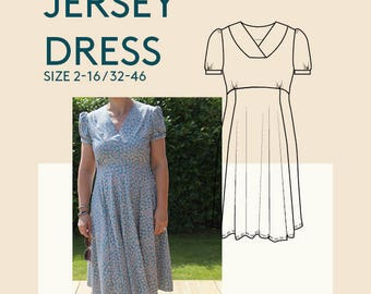 Jersey dress digital PDF sewing pattern for women|Skater dress sewing pattern|Fitted jersey dress PDF sewing pattern|Adult jersey dress PDF