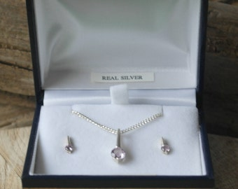 Vintage Sterling Silver and Amethyst Pendant / Necklace and Stud Earrings Set Boxed