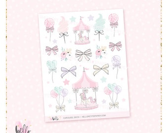 Carousel deco stickers - 21 cute, hand-drawn planner stickers