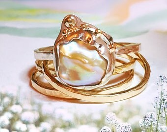 Gold Pearl ring, South Sea Keshi pearl Gold ring, Champagne Pearl ring, 9ct, 14ct, 18ct solid Gold ring, Art Nouveau ring.