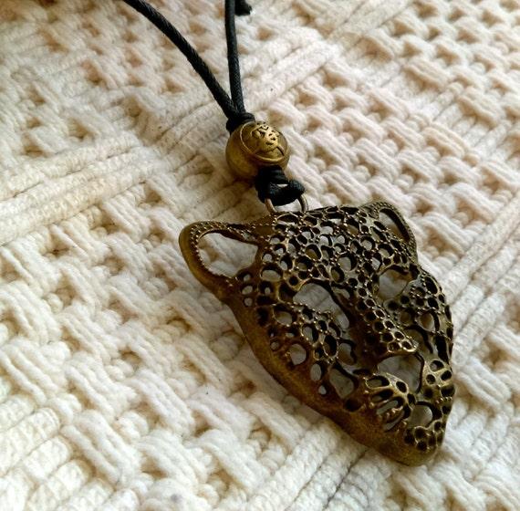 Large Leopard Cat Pendant Adjustable Length Necklace Black Waxed Cotton Antique Bronze Pendant Bead