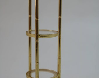 Dollhouse Miniature Contemporary Brassy Metal & Glass 3-Tier Plant Stand (1/12 Scale)