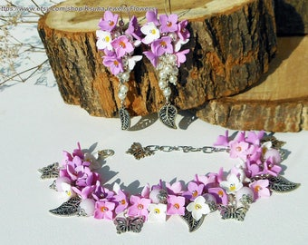 Jewelry Set Charm Bracelet Cluster earrings lilac flowers Lilac pink and white flowers of polymer clay Earrings leaves Pastel Jewelry bride