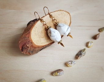 Gold Fishhook Dangle Earrings with White and Gray Stones