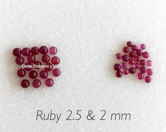 Natural Ruby Size 2 MM/ 2.5 MM Round Cabochons, AAA Quality Gemstone, Priced by Lot of 3 Pieces.