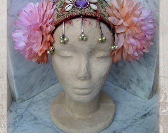Tribal Fusion Headpiece, ATS Costume Headdress, Tribal Belly Dance Headband, Flowers Headdress, Gypsy, Boho Headdress with  Silk Flowers