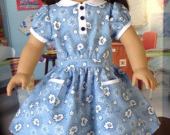 1930's school dress, 30's print historical dress. 18 inch doll's dress, short sleeve 30's dress,  doll dress in 30's print, school dress