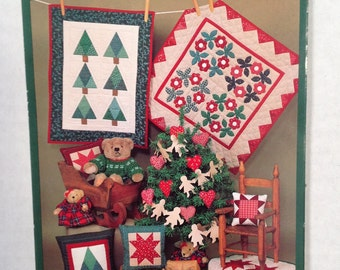 Little Quilts Christmas collection, small Christmas Quilts, holiday quilts, Pines in the Snow quilt,  Homecoming Wreath quilt