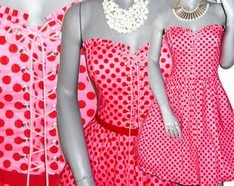 Betsey Johnson Pink/Red Polka Dot Fit Flare With Pockets Strapless Corset Sundress 8/10