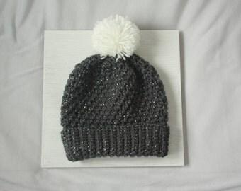 Gray w/ Silver Sparkle Handmade Crocheted Pompom Beanie Hat