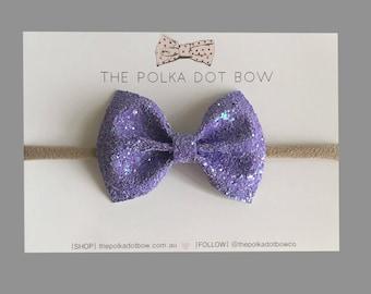 Violet Glitter Bow Headband | Baby Headbands | Toddler Headbands | Glitter Baby Headband | Purple Baby Headband | Purple Bows | Baby Bows
