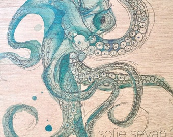 Señor Octopus - Sofie Seyah Turquoise Watercolour and Ink Illustration - A4 Print on Marine Grade Plywood