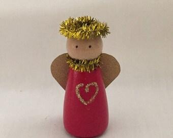 Peg Doll-Angel-Hand Painted Wooden Peg Doll Angel-Angel Figurine