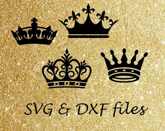 Crowns SVG DXF cut files, Princess Crown Svg,  Silhouette Cricut Svg Cutting Files, Cameo Vinyl Digital Files, Royal Crown Template Dxf Svg