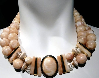 Big and bold necklace Marbled camel beads, 2 rows beaded choker with 25 x 18 stone on gold setting easy wear