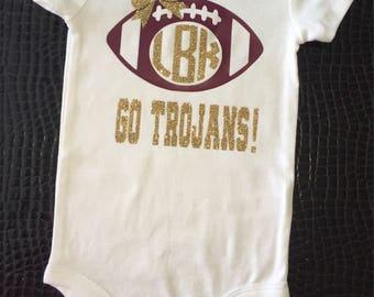 Baby College Bodysuit Shirt-Baby Toddler Football Shirt-Baby Football Shirt-Football Baby Bodysuit-Baby College Tee Shirt-Football Baby