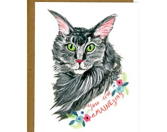 Cat Greeting Card featuring Maine Coon Cat - You're Amazing Card