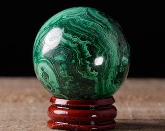 41mm MALACHITE Sphere -  Malachite Crystal, Malachite Stone, Polished Malachite, Green Crystal Ball, Crystal Sphere, Malachite Ball 36741