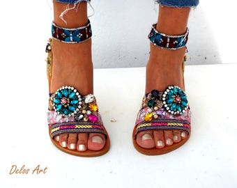 """Leather sandals, """"Majesty"""" , 2018 Boho sandals, Handmade sandals , Women's Shoes, Genuine leather shoes,  oriental sandals"""