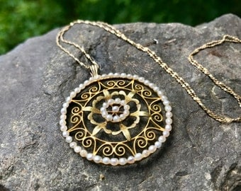 Gold Victorian Seed Pearl Pendant – Gold Mandala Necklace – Edwardian Pendant - Large Round Pendant Vintage Pearl Necklace WhistlingGypsVTG