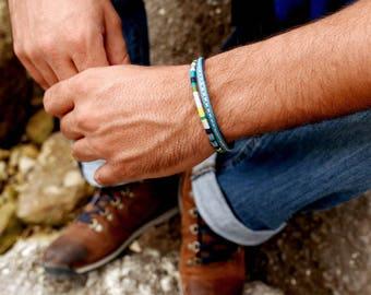Man Bracelet, Gift for mens, Mens bracelet, Cotton Leather bracelet, Woven bracelet, Hipster bracelet, Valentine gift, Boyfriend gift