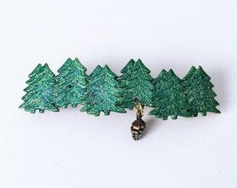 Christmas Hair Barrette, Christmas Tree, Pine cone