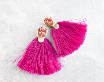 Summer Tassel Handmade Statement Earrings | colorful statement jewelry | festival tribal pink bohemian earrings | pink boho tassel earrings