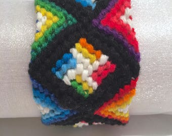 Black Gradient Rainbow Colours Macrame Woven Friendship Bracelet