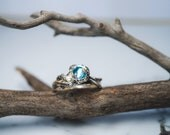Tree branch ring with moonstone or swiss blue topaz, .925 sterling silver