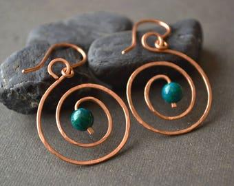 Copper hoop earrings hammered copper earrings tribal earring gift for her drop Earring chrysocolla rustic earrings copper wire earrings