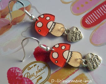 Earrings in 925 sterling silver red mushroom plastic nuts and heart charm