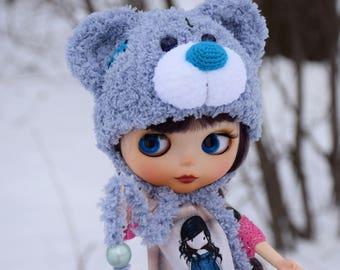 Blythe hat Blythe Teddy bear Hat Blythe Outfit Blythe Doll Clothes Blythe Teddy bear cap Blythe helmet Blythe wear Blythe plush hat