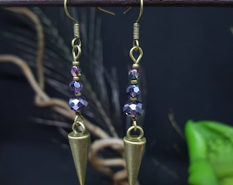 Purple Pendulum - pendulum - boho beads - glass - purple - Bohemian - kind earrings
