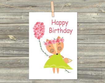 Happy Birthday Card, DIGITAL CARD, Digital Instant, Printable Download Greeting Card, Watercolor Flowers, Cards For Kids, Fox Print