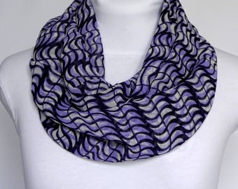Purple Infinity scarf / Chiffon Scarf / Patterned Scarf / Fashion Scarf / Womens Scarf Loop Scarf / Fall Scarf / Spring Scarf / Gift For Mom