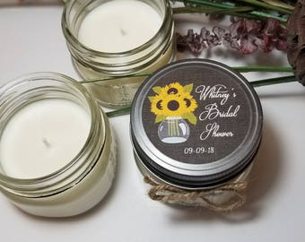 12 - 4 oz Bridal Shower Candle Favors - Soy Candle Favors - Sunflower Theme  - Bridal Shower Prizes  - Personalized Candles for Guests