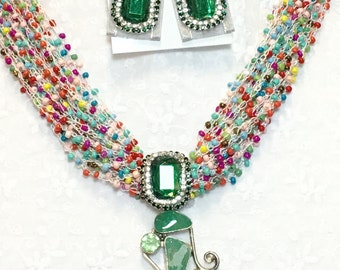 Beaded W/Gemstone Pendant Necklace Set, Handmade One Of A Kind Jewelry Set, Jewelry Set looks Luxurious w/Pendant 925 Sterling Silver