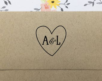 Heart with Initials Stamp, Personalized Wedding Stamp, Custom Wedding Favors Stamp, Wooden Stamp, Eco Friendly Rubber Stamp, Engagement Gift