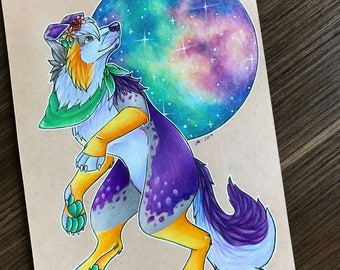 Furry character galaxy poster