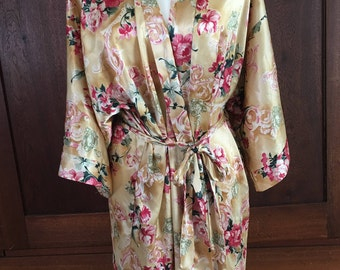 L / California Dynasty / Gold and Pink Floral Robe/ Large